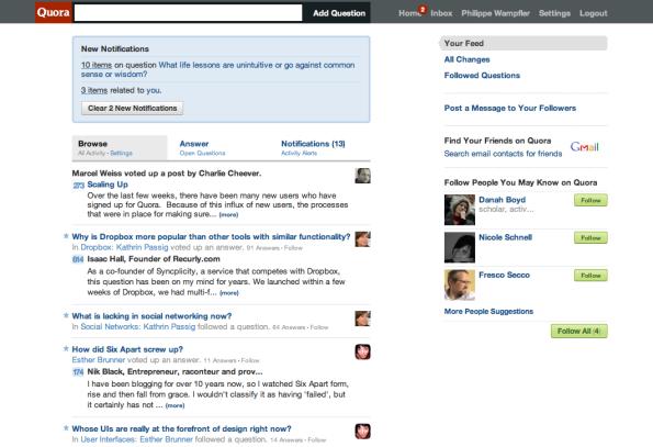 Startseite von Quora, 25. Januar 2010
